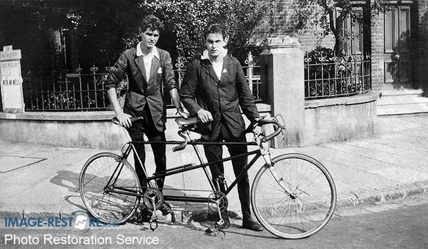 London to Brighton Cycle Race winner posing with a tandem and colleague
