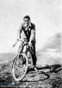 London to Brighton Cycle Race winner 1920's on cliffs at Brighton