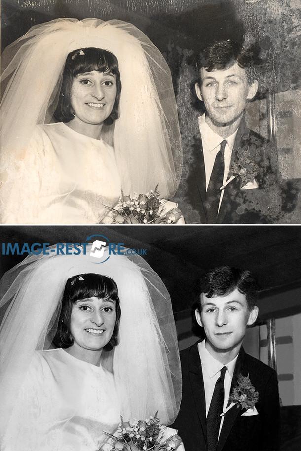 Mouldy wedding photo restored