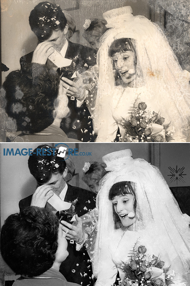 Mouldy wedding photo restored