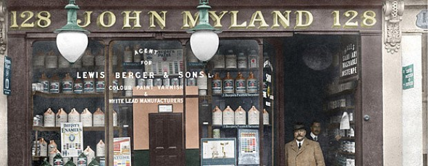Old photo of Mylands Paints and Varnishes recoloured