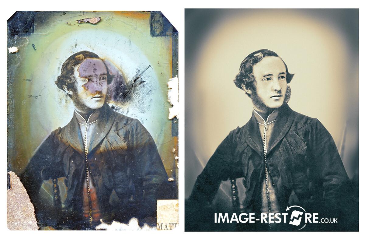 Tintype photo restoration sample