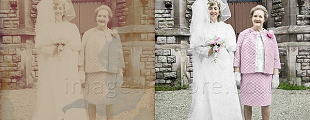 Old wedding photo restored to colour