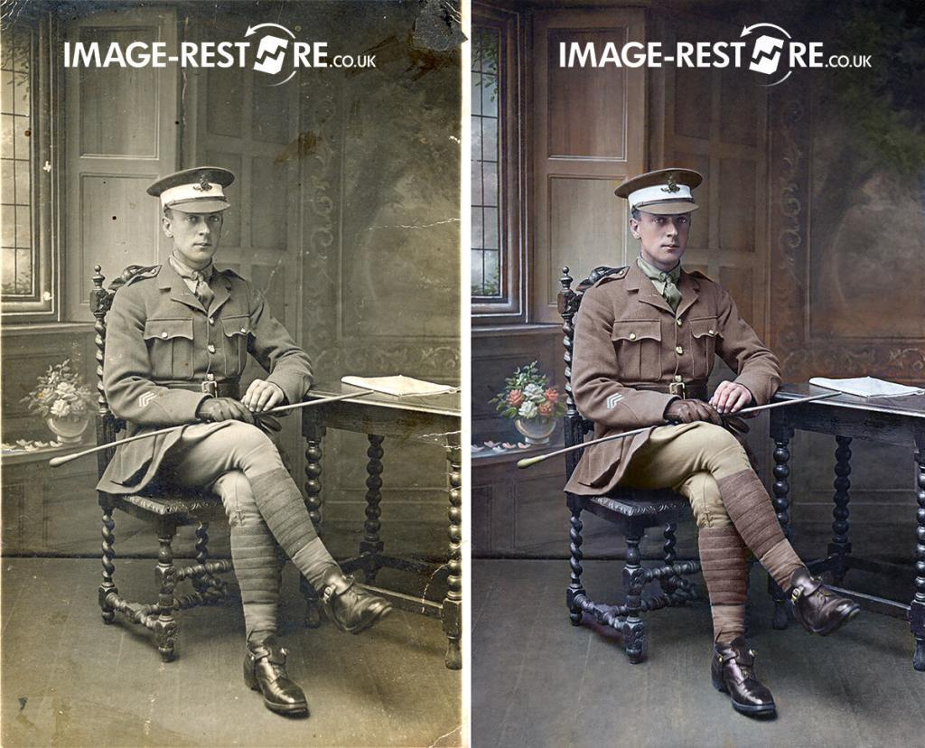 Restored and colourised old soldier photo