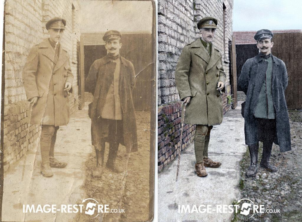 Restored and colourised old war photo