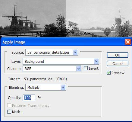 Photo restoration apply image