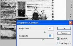Photo restoration using brightness and contrast