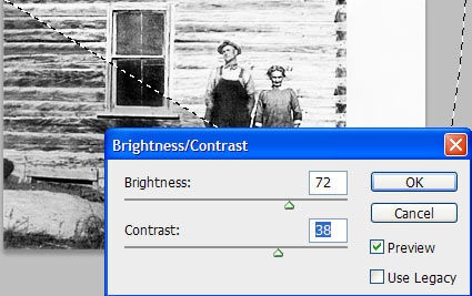 Photo restoration using brightness and contrast