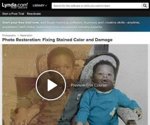 Learn Photo restoration course fixing stained colour damage with a new content based on line video