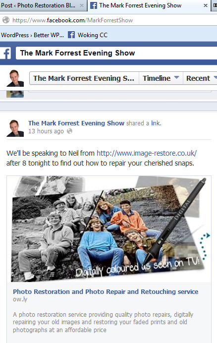 Image-Restore on the BBC Mark Forrest Evening Show Monday 23rd September 2013