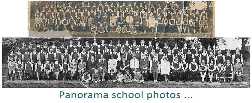 Photo restoration of old panorama school photos