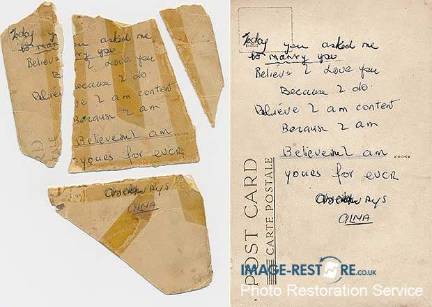 Torn postcard message restored , an acceptance of marriage.