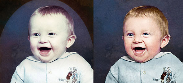 Photo restoration hand colouring for realism
