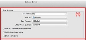 Scanner settings to save a file Canon