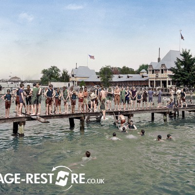 Digitally coloured image of Swimmers on Belle Isle 1903 - Image source - Shorpy.com