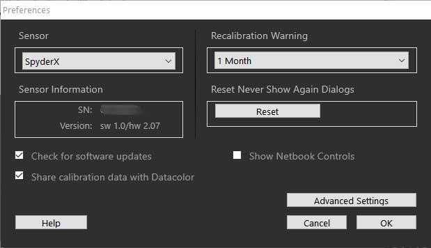 Sypderx-pro monitor calibration software preferences