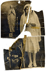 Torn photo with missing pieces after restoration