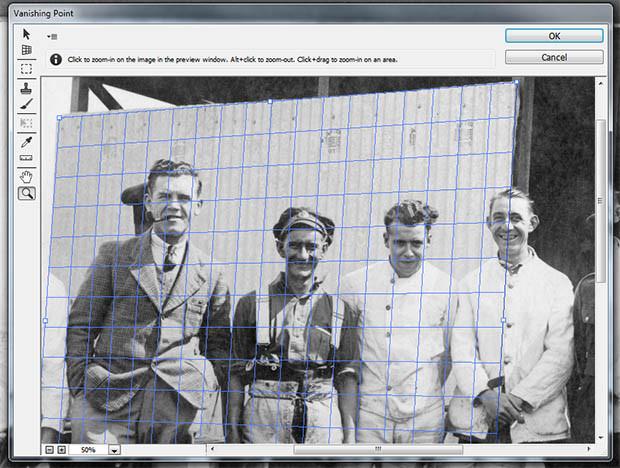 Photo restoration using vanishing point and clone