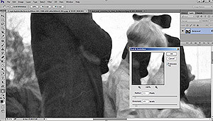 Using the dust and scratch filter to remove large areas of damage in an old photo