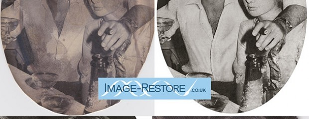 water stained photo restored