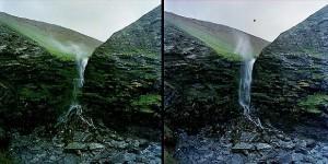 Cornish waterfall defying gravity