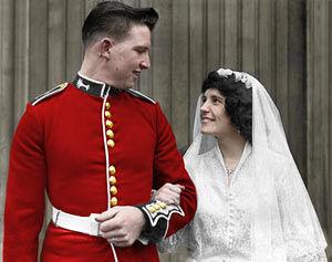 Adding colour to wedding photos - After restoration