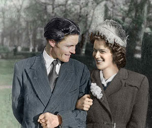 Wedding photos combined, coloured and restored.