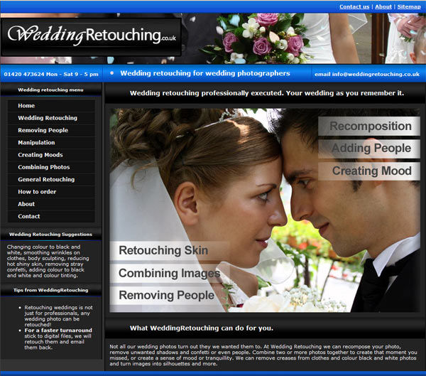 Wedding retouching services at weddingretouching.co.uk